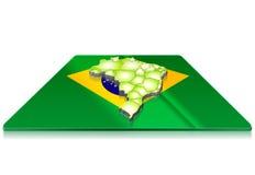 3D kaart van Brazilië op een 3d vlag Stock Foto's