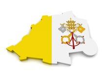 3D Kaart van de Stadstaat van Vatikaan Royalty-vrije Stock Foto