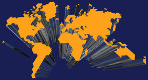 3D Kaart van de Wereld vector illustratie