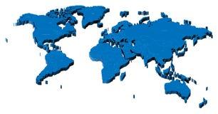 3d kaart van de Wereld Stock Foto