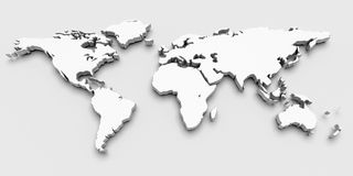 3D Kaart van de Wereld Stock Afbeelding