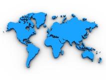 3D Kaart van de Wereld Royalty-vrije Stock Afbeeldingen