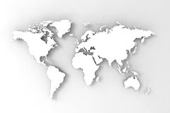 3D Kaart van de wereld, geeft terug Royalty-vrije Stock Afbeeldingen