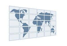 3d kaart van de wereld op de transparante schermen Stock Foto