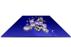 3D kaart van Europese Unie op een 3d vlag Royalty-vrije Stock Afbeeldingen