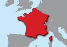 3d kaart van Frankrijk Royalty-vrije Stock Afbeeldingen