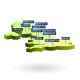 3d kaart van Groot-Brittannië met steden Stock Foto