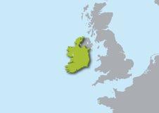 3d kaart van Ierland Stock Afbeelding