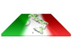 3D kaart van Italië op een 3d vlag Royalty-vrije Stock Afbeelding