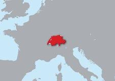 3d kaart van Zwitserland Stock Foto's