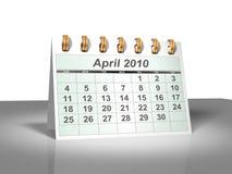 (3D) Kalender van de Desktop. April, 2010. Royalty-vrije Stock Afbeeldingen
