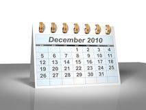 (3D) Kalender van de Desktop. December, 2010. Royalty-vrije Stock Afbeelding