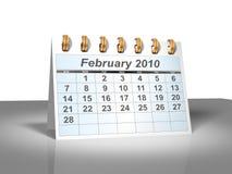 (3D) Kalender van de Desktop. Februari, 2010. Stock Afbeelding