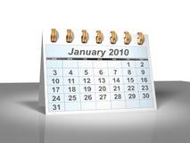 (3D) Kalender van de Desktop. Januari, 2010. Royalty-vrije Stock Fotografie