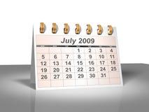 (3D) Kalender van de Desktop. Juli, 2009. Stock Fotografie