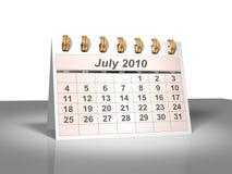 (3D) Kalender van de Desktop. Juli, 2010. Royalty-vrije Stock Foto