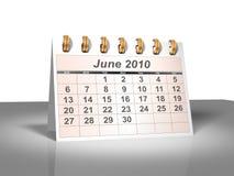 (3D) Kalender van de Desktop. Juni, 2010. Royalty-vrije Stock Fotografie