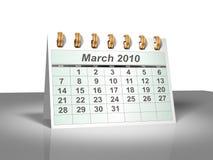 (3D) Kalender van de Desktop. Maart, 2010. Stock Afbeeldingen