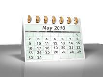 (3D) Kalender van de Desktop. Mei, 2010. Stock Afbeeldingen