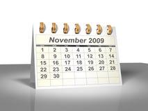 (3D) Kalender van de Desktop. November, 2009. Stock Afbeeldingen