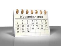 (3D) Kalender van de Desktop. November, 2010. Stock Afbeelding