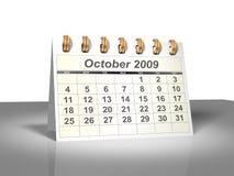 (3D) Kalender van de Desktop. Oktober, 2009. Royalty-vrije Stock Foto