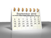 (3D) Kalender van de Desktop. September, 2010. Stock Foto's