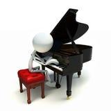 3D karakter dat de piano speelt Stock Fotografie