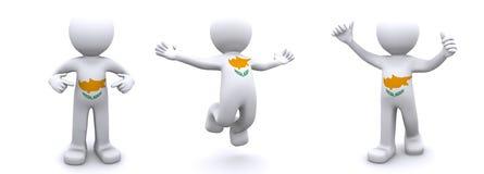 3d karakter geweven met vlag van Cyprus Vector Illustratie