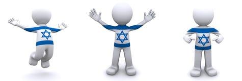 3d karakter geweven met vlag van Israël Stock Fotografie