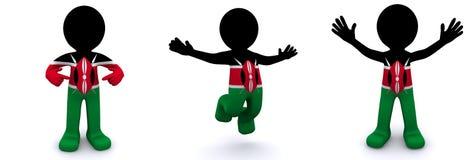 3d karakter geweven met vlag van Kenia Vector Illustratie