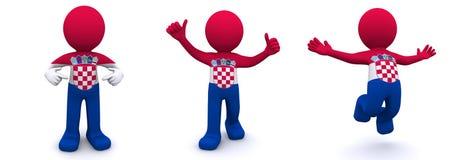 3d karakter geweven met vlag van Kroatië Royalty-vrije Illustratie