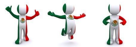 3d karakter geweven met vlag van Mexico Royalty-vrije Illustratie