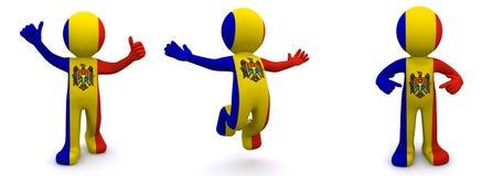 3d karakter geweven met vlag van Moldova Stock Illustratie