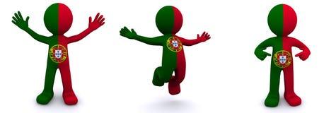 3d karakter geweven met vlag van Portugal Stock Illustratie