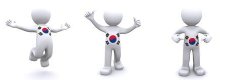 3d karakter geweven met vlag van Zuid-Korea Vector Illustratie