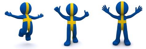 3d karakter geweven met vlag van Zweden Royalty-vrije Illustratie