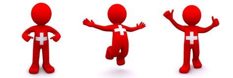 3d karakter geweven met vlag van Zwitserland Stock Illustratie