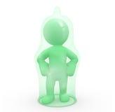 3D karakter omvat door een condoom Stock Fotografie