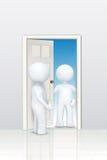 3d karakters die bij deur welkom heten Stock Foto's