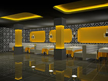 3d kawiarni wnętrze Obrazy Royalty Free