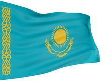 3D Kazakh flag Stock Photo