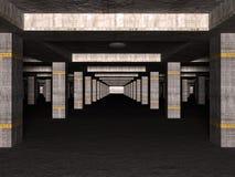3D kelderverdiepingsparkeerterrein royalty-vrije stock afbeelding