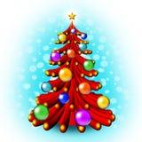 3D kerstboom Stock Afbeelding
