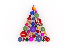 3D Kerstboom die van bollen wordt gemaakt Royalty-vrije Stock Foto's