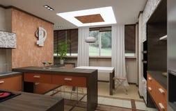 3D keukenbinnenland stock foto