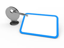 3d key attached blue Stock Photos