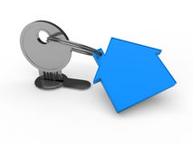 3d key blue house Royalty Free Stock Image