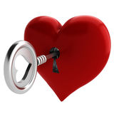 3d key and heart, Valentine Concept Stock Images