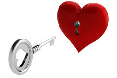 3d key and heart, Valentine Concept Royalty Free Stock Image